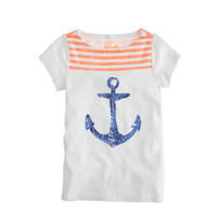 Girls' orange stripe sequin anchor tee