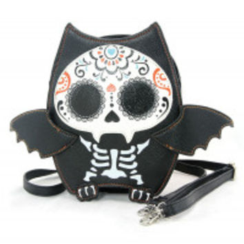 Purse - Sugar Skull Bat Crossbody Bag