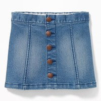 Button-Front Denim Mini for Toddler Girls|old-navy