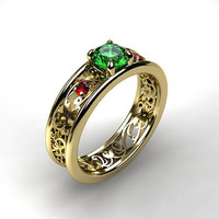 Emerald and ruby ring, yellow gold, white gold, emerald engagement ring, filigree, pink ruby ring, unique, vintage style, green