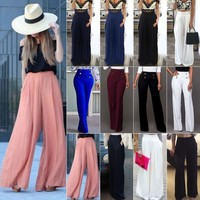 Women's Palazzo Flared Wide Leg Pants High Waist Loose Culottes Long Trousers