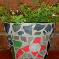 Mosiac Flower Pot - Medium Pot - Flowers 1