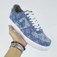 NIKE Air Force 1 Supreme x Louis Vuitton Blue For Women Men Running Sport Casual Shoes Sneakers