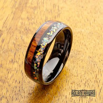 NEW - Fire Opal Black Tungsten Ring with Koa Wood Inlay