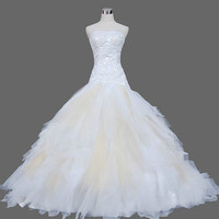 A-line Spaghetti straps Court Train Tulle Wedding Dress