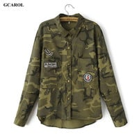 Women Brand Camouflage Blouses Asymmetric Length Patch Design Army Style Shirts Girl's Casual Streetwear Tops