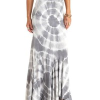 Paneled Tie-Dye Maxi Skirt by Charlotte Russe - Gray Combo