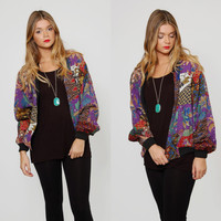 Vintage 90s GRAPHIC Bomber Jacket Batik PATCHWORK Floral CROPPED Jacket Hip Hop Bomber Jacket