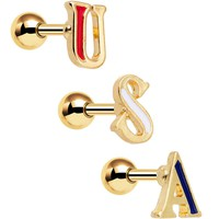 Gold Anodized Red White Blue USA Tragus Cartilage Earring Set of 3