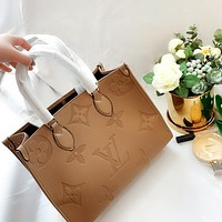 LV New Catwalk Shopping Bag Embossed Tote Khaki Square Bag