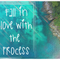 Fall In Love With The Process Tapestry Wall Hanging Meditation Yoga Grunge Hippie Wanderlust