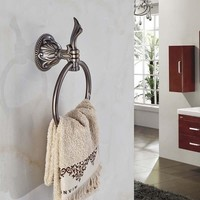 Elegant Antique Bronze Bathroom Towel Rack Holder Embossed Round Towel Ring Hanger Towel Bar