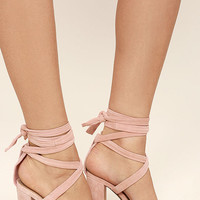 Steve Madden Christey Light Pink Suede Leather Lace-Up Heels