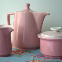 Altered Art Supply Mid Century Mod Pink Ceramic Stovetop Teapot, cracked  - 1.00 with paid shipping
