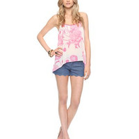 Cut Out Back Floral Print Chiffon Top
