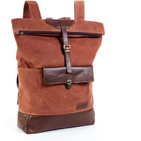 Waxed canvas backpack. Folded top backpack. Cappuccino  canvas & brown leather backpack. Urban backpack.