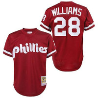 Red 1991 Throwback Mitch Williams Authentic Jersey , Men's #28 Mitchell And Ness Philadelphia Phillies