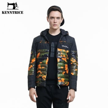 Patchwork Camouflage Fashion Hooded Parkas Men Wadded Jackets Man Military Style Thick Coats Cotton Green