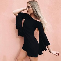 Mini Dresses Black Flare Sleeve Women Autumn Straight Goth Short Dresses Vintage