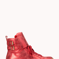 FOREVER 21 Buckled High-Tops Red
