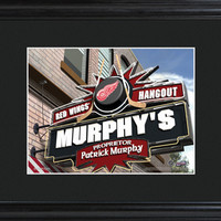 NHL Pub Print in Wood Frame - Red Wings