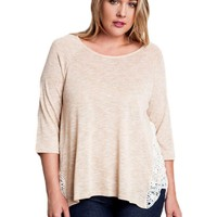Curvy Knit Top With Side Lace Detail, Tan
