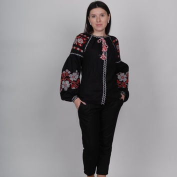 Bohemian, Embroidered linen Blouse, Shirt, Linen, Tunic, Dress, Ukrainian, Vyshyvanka, Vita Kin Style