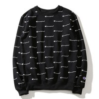 Champion women men embroidery print logo round collar sweater casual loose sweater top