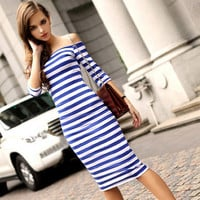 Fashion Stripes Printed Sexy Off Shoulder Package Hip Boat Neckline Erotic One Piece Dress _ 12733