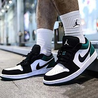 AJ 1 Air Jordan 1 Low Fashion Women Men Casual Sport Running Shoes Basketball Sneakers White&Black&Green