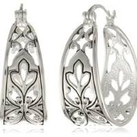 Sterling Silver Bali Inspired Filigree Triangle Shape Hoop...