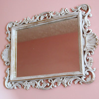 mirror ornate shabby chic white and gold scroll detailing Hollywood regency or Paris apartment white and gold scroll detailing