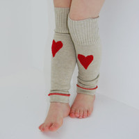 Leg Warmers for Toddlers in Beige with Red Hearts - Recycled Sweaters - Eco Friendly