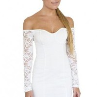 White Lace Long Sleeve Off The Shoulder Bodycon Dress