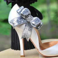 Sparkly Silver / Gold Bow Shoe Clips. Edgy Holidays, Fashion Night Out Couture, Rhinestone Crystals Glitter Glittery Ribbon, Winter Fashion