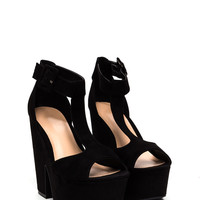 Chunky Town Thick Faux Suede Heels