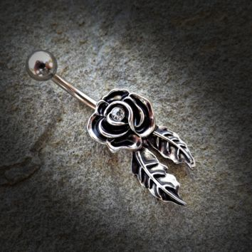Rose Belly Ring Gold and Silver Navel Ring Body Jewelry Piercing Jewelry 14ga Surgical Steel