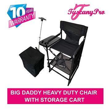 TuscanyPro Portable Big Daddy Heavy-Duty Tall Director Chair with Storage Cart - Perfect for Events - 29 Inch Seat Height - 10 Years Warranty - US Patented