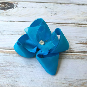 Teal, Aqua blue, Hair bow, Girls hair bow with rhinestone, Pageant hair bow, Easter hair bow, Flower girl hair bows, hairbows