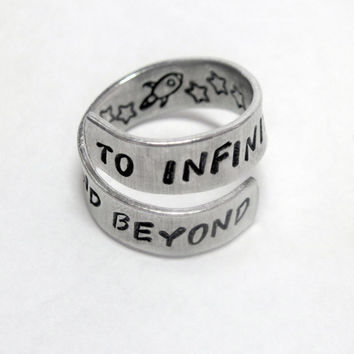 To Infinity and Beyond - Hand Stamped Aluminum Wrap Twist Ring - Gifts Under 20