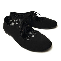 NEW WOMEN'S CUT OUT LACE TIE UP BALLET FLATS SOLID BLACK LEOPARD FLOWER PRINTS