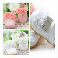 Notice: There are flowers only on the belt but not on the head. Christening Soft Cack Baby Girl Flower Prewalker Shoes Fit 3-24 Months Kid = 1652434372