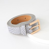 Gianno Grey Crocodile Embossed Belt