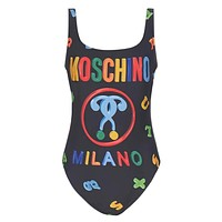 Moschino New fashion multicolor letter one piece bikini swimsuit Black
