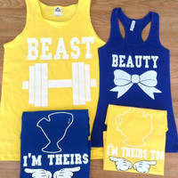 Free/Fast Shipping for US Beauty And The Beast Family  Matching Couple Shirts(Yellow and Blue)