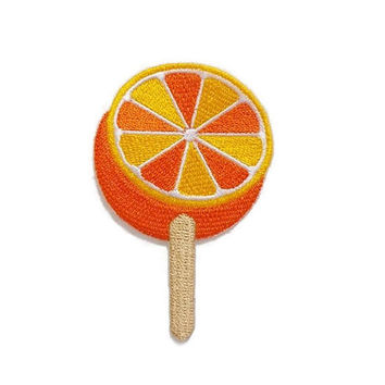 Orange Sorbet Summer Fruit Ice Cream Food patch New Sew on / Iron On Patch Embroidered Applique Size 4.9cm.x7.6cm.