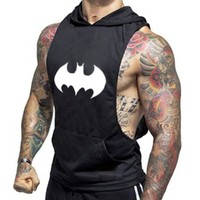 Men Bodybuilding Hooded Sleeveless Pullover Fashion Breathable Workout Runner Clothes Fitness Gyms Clothing