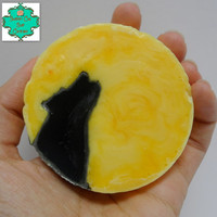 Full Moon Howl Soap Bar - Handcarved Soap, Wolf Soap, Howling Wolf, Halloween Soap