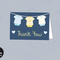 Onesuit Baby Shower - Printable Thank You Card, Instant Download, Modern Blue, Baby Boy, Printable Party Supplies, Baby Shower Favor Tag