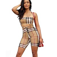 Burberry Fashion New Sumemr Plaid Print Sports Leisure Strapless Top And Shorts Romper Women